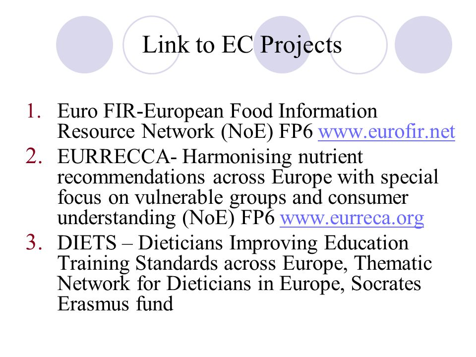 Link to EC Projects 1.Euro FIR-European Food Information Resource Network (NoE) FP6 www.eurofir.netwww.eurofir.net 2.