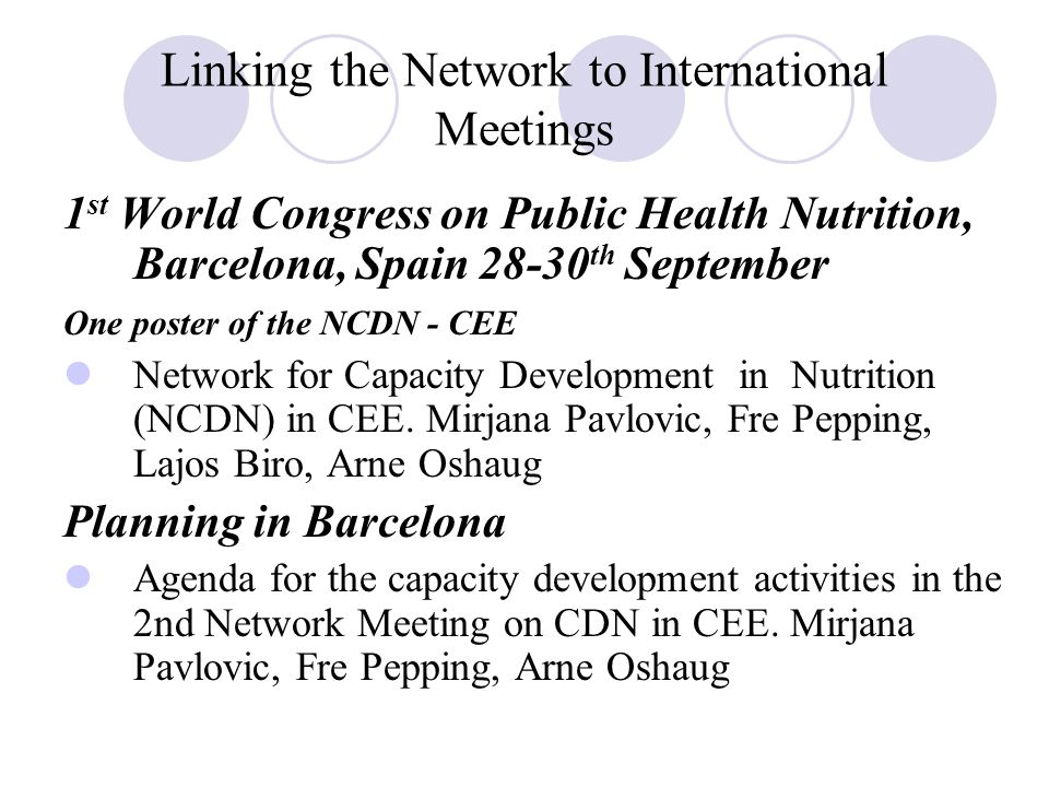 Linking the Network to International Meetings 1 st World Congress on Public Health Nutrition, Barcelona, Spain 28-30 th September One poster of the NCDN - CEE Network for Capacity Development in Nutrition (NCDN) in CEE.