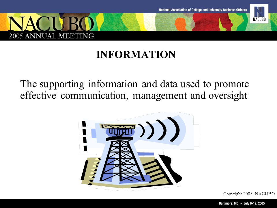 Copyright 2005, NACUBO INFORMATION The supporting information and data used to promote effective communication, management and oversight