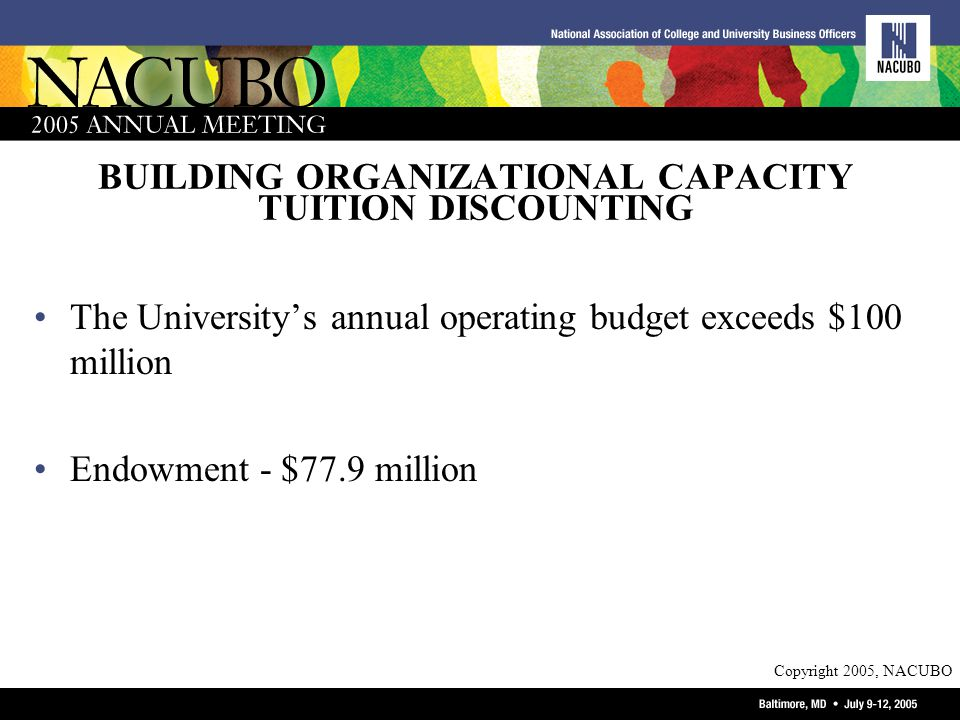 Copyright 2005, NACUBO BUILDING ORGANIZATIONAL CAPACITY TUITION DISCOUNTING The Universitys annual operating budget exceeds $100 million Endowment - $77.9 million