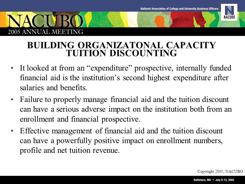 Copyright 2005, NACUBO BUILDING ORGANIZATONAL CAPACITY TUITION DISCOUNTING It looked at from an expenditure prospective, internally funded financial aid is the institutions second highest expenditure after salaries and benefits.