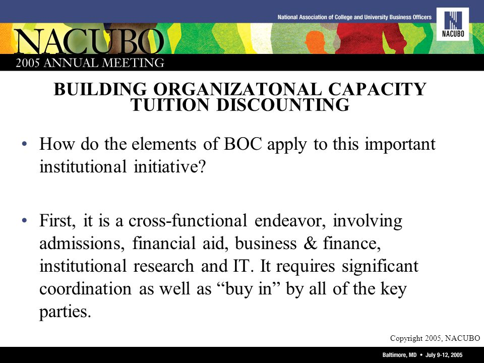 Copyright 2005, NACUBO BUILDING ORGANIZATONAL CAPACITY TUITION DISCOUNTING How do the elements of BOC apply to this important institutional initiative.