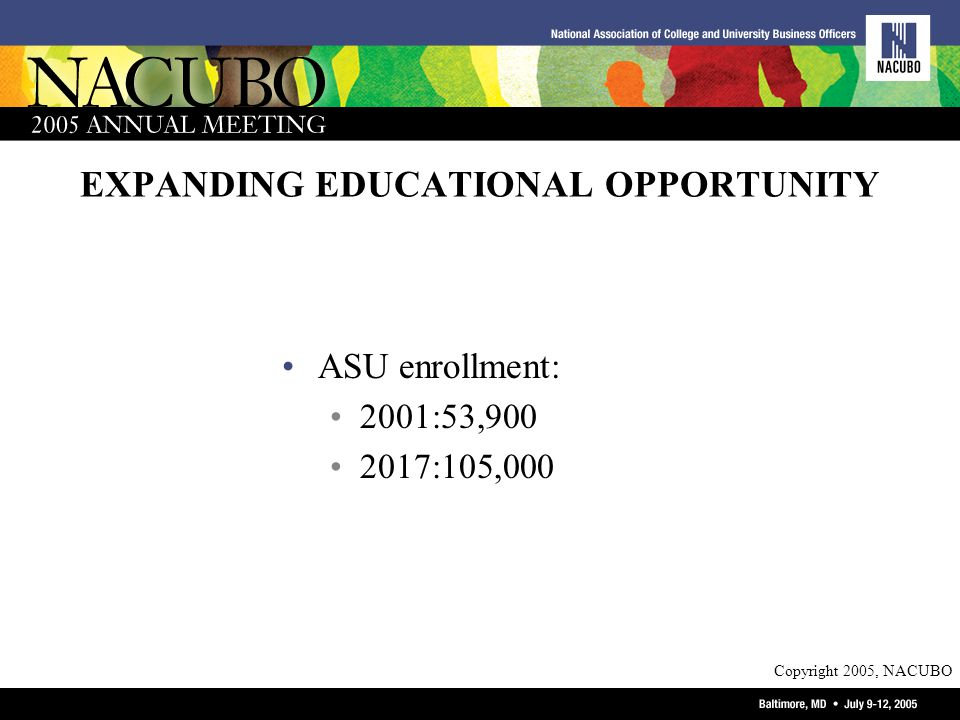 Copyright 2005, NACUBO EXPANDING EDUCATIONAL OPPORTUNITY ASU enrollment: 2001:53,900 2017:105,000