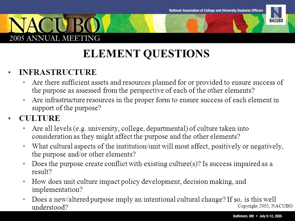 Copyright 2005, NACUBO ELEMENT QUESTIONS INFRASTRUCTURE Are there sufficient assets and resources planned for or provided to ensure success of the purpose as assessed from the perspective of each of the other elements.
