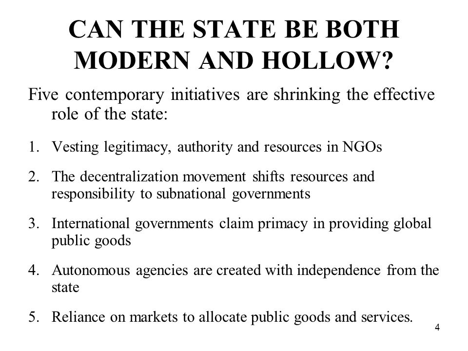 4 CAN THE STATE BE BOTH MODERN AND HOLLOW.