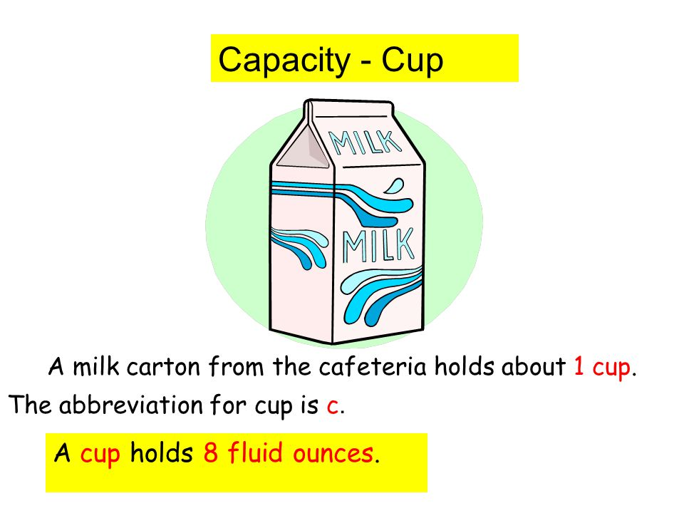 Capacity - Cup A milk carton from the cafeteria holds about 1 cup. The abbreviation for cup is c. A cup holds 8 fluid ounces.