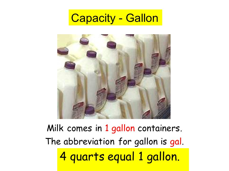 Capacity - Gallon Milk comes in 1 gallon containers. The abbreviation for gallon is gal. 4 quarts equal 1 gallon.