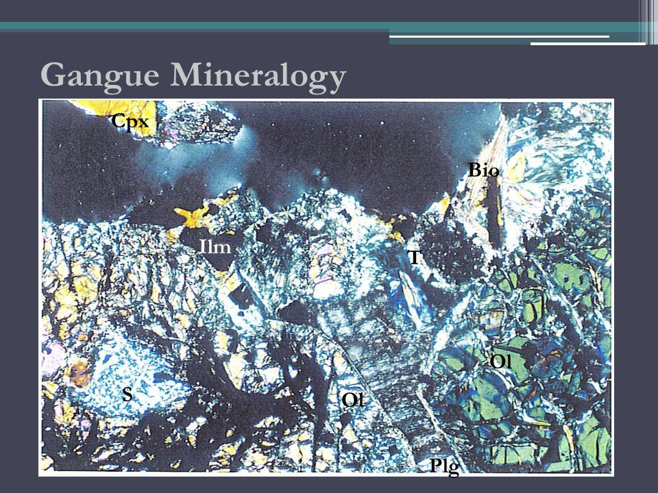 Gangue Mineralogy S Plg Ol T Cpx Bio Ilm