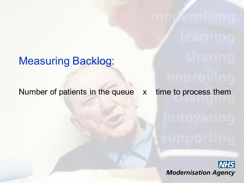Measuring Backlog: Number of patients in the queuex time to process them