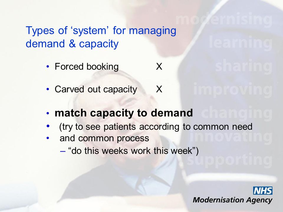 Types of system for managing demand & capacity Forced booking X Carved out capacity X match capacity to demand (try to see patients according to common need and common process – do this weeks work this week)