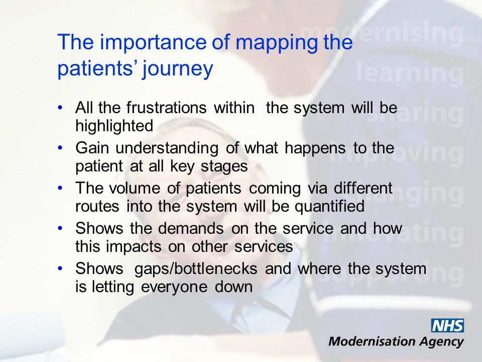 The importance of mapping the patients journey All the frustrations within the system will be highlighted Gain understanding of what happens to the patient at all key stages The volume of patients coming via different routes into the system will be quantified Shows the demands on the service and how this impacts on other services Shows gaps/bottlenecks and where the system is letting everyone down