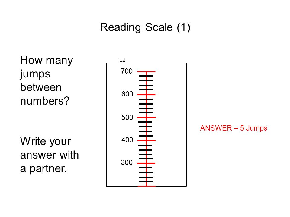 Reading Scale (1) ml 300 400 500 600 700 How many jumps between numbers? Write your answer with a partner. ANSWER – 5 Jumps