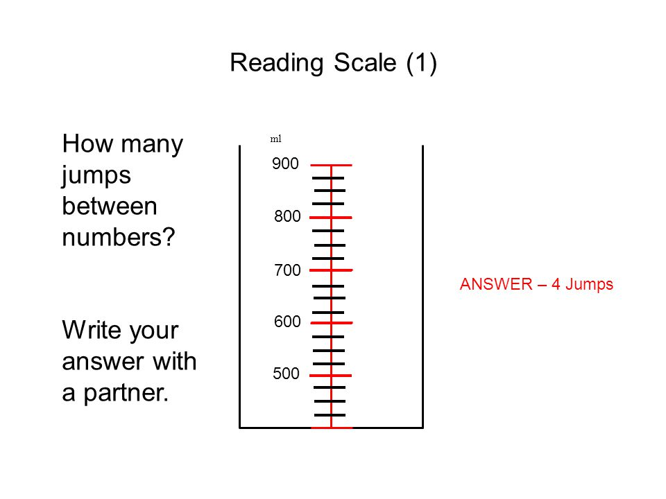 Reading Scale (1) ml 500 600 700 800 900 How many jumps between numbers? Write your answer with a partner. ANSWER – 4 Jumps