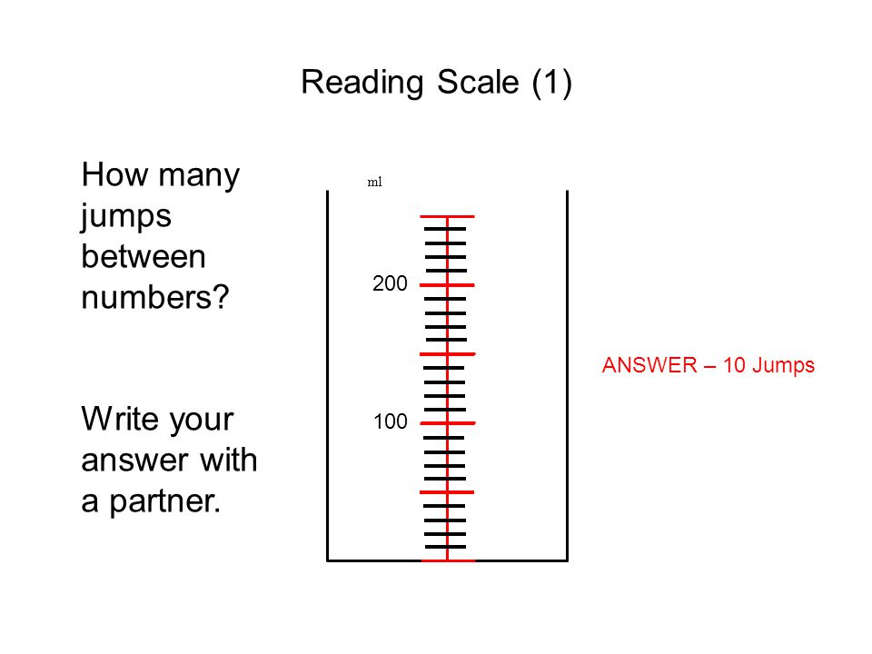 Reading Scale (1) ml 100 200 How many jumps between numbers? Write your answer with a partner. ANSWER – 10 Jumps