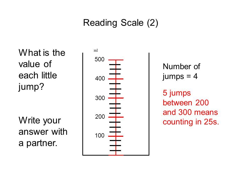 Reading Scale (2) ml 100 200 300 400 500 What is the value of each little jump? Write your answer with a partner. Number of jumps = 4 5 jumps between