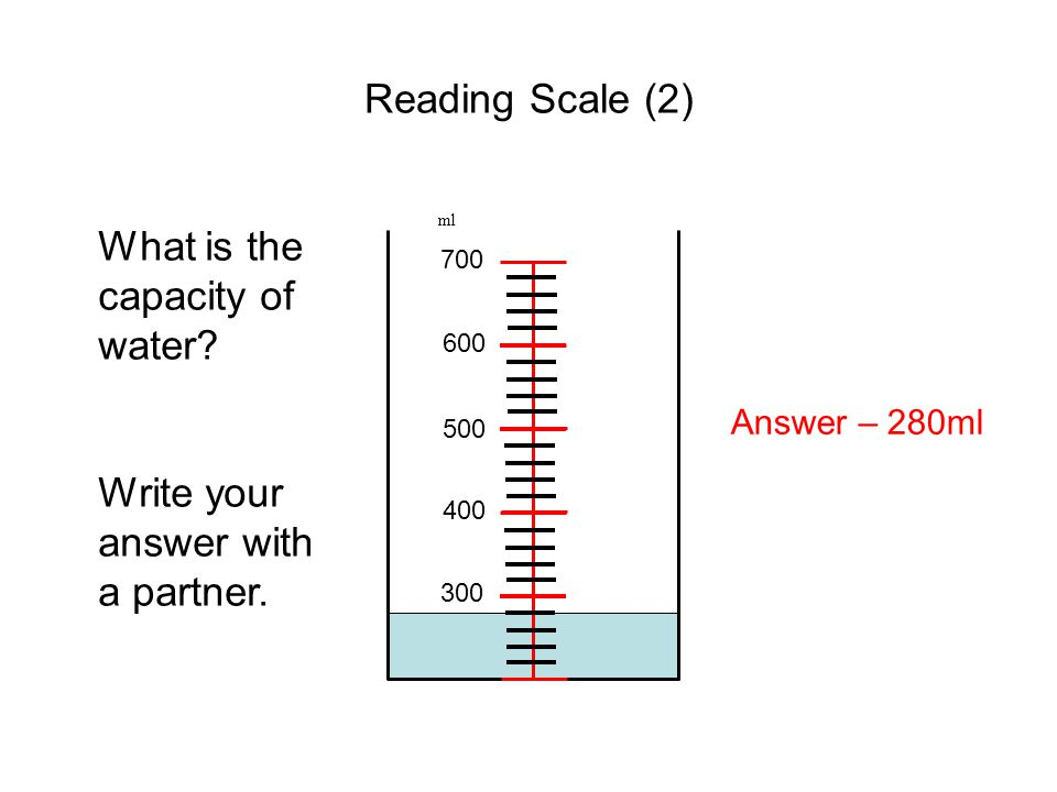 Reading Scale (2) ml 300 400 500 600 700 What is the capacity of water? Write your answer with a partner. Answer – 280ml