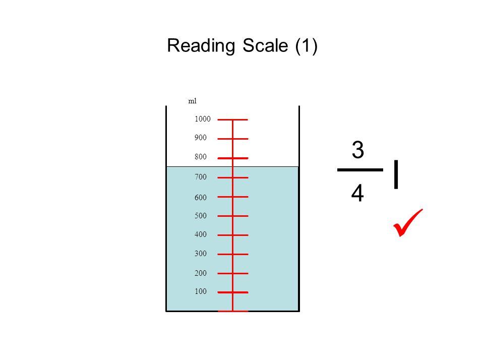 Reading Scale (1) 100 200 300 400 500 600 700 800 900 1000 ml 3434 l
