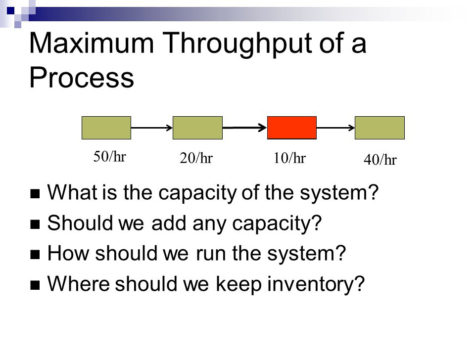 Maximum Throughput of a Process What is the capacity of the system? Should we add any capacity? How should we run the system? Where should we keep inv