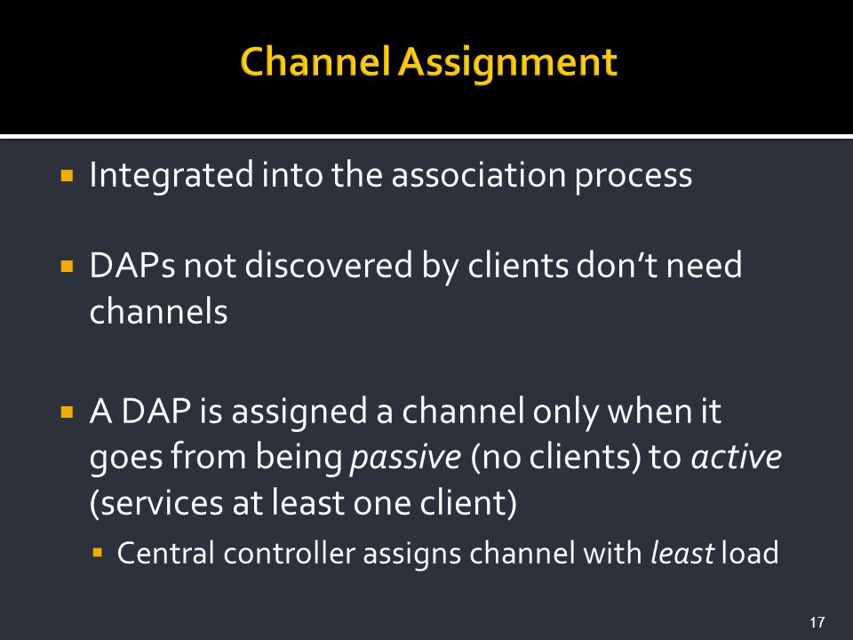 Integrated into the association process DAPs not discovered by clients dont need channels A DAP is assigned a channel only when it goes from being pas
