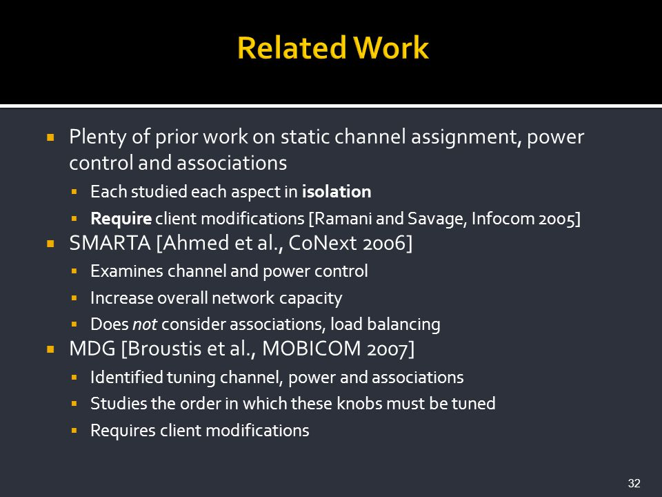 Plenty of prior work on static channel assignment, power control and associations Each studied each aspect in isolation Require client modifications [