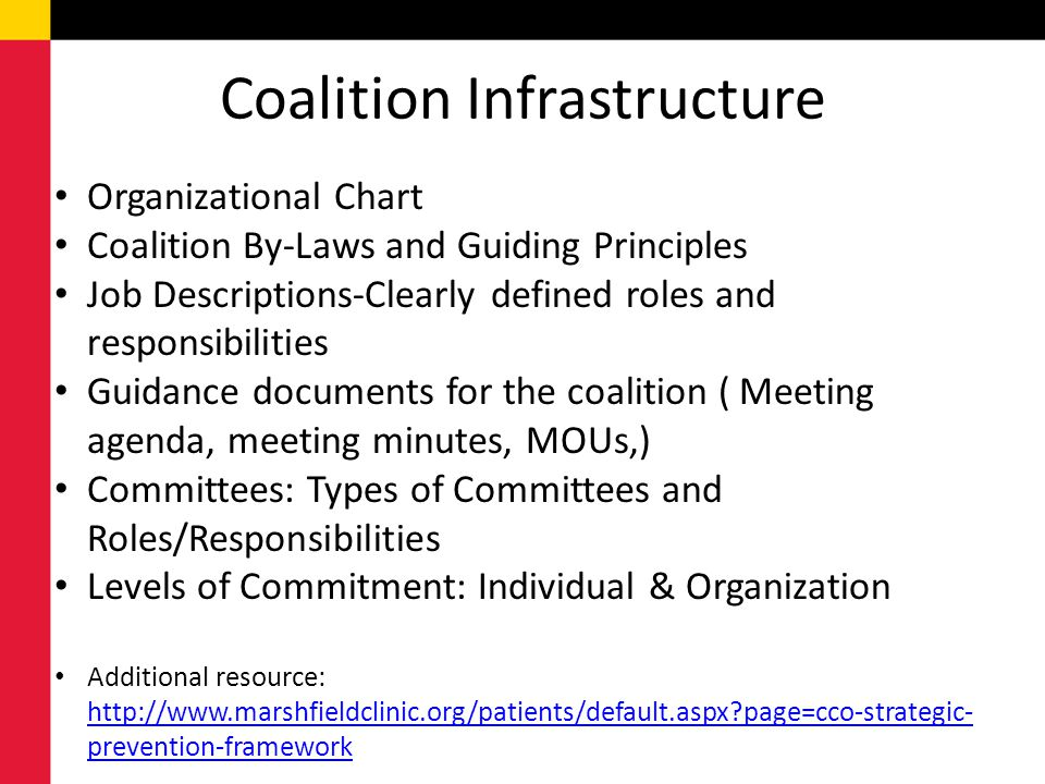 Coalition Infrastructure Organizational Chart Coalition By-Laws and Guiding Principles Job Descriptions-Clearly defined roles and responsibilities Gui