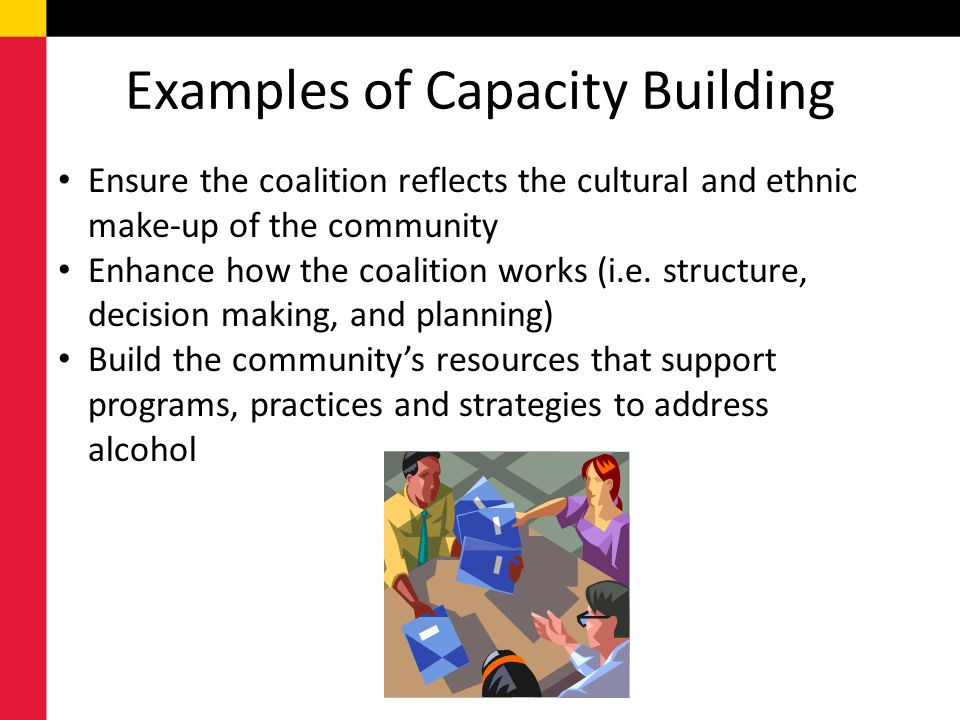 Examples of Capacity Building Ensure the coalition reflects the cultural and ethnic make-up of the community Enhance how the coalition works (i.e. str