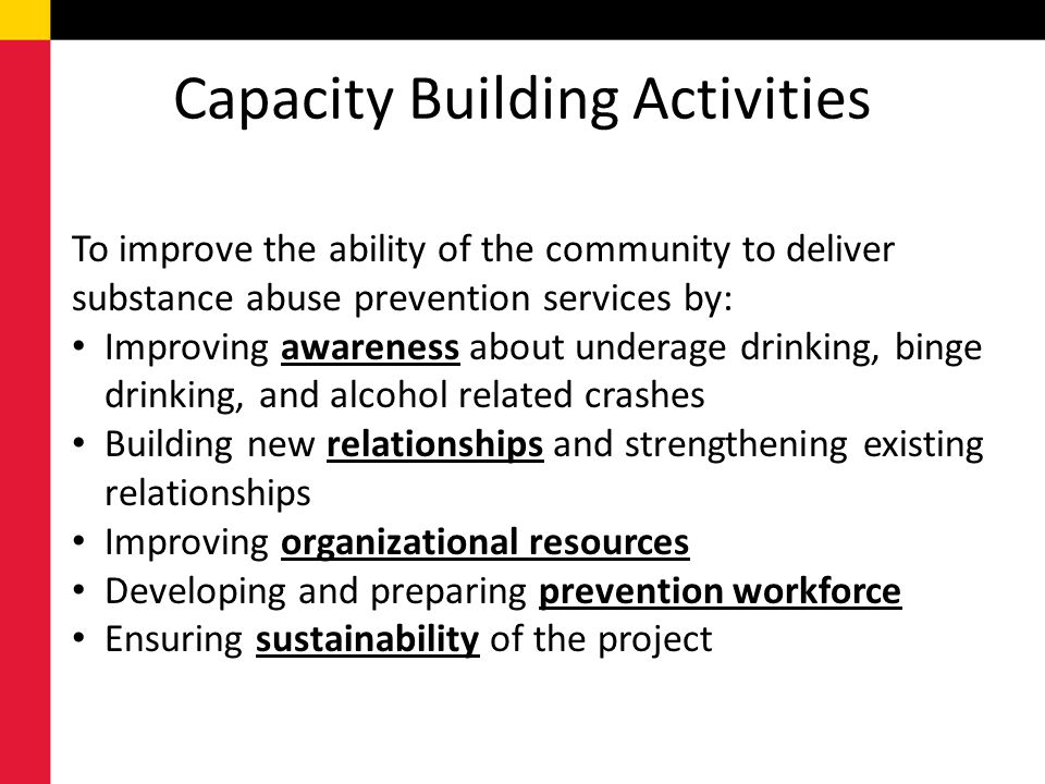 Capacity Building Activities To improve the ability of the community to deliver substance abuse prevention services by: Improving awareness about unde