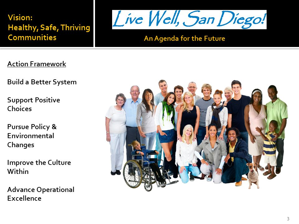 Vision: Healthy, Safe, Thriving Communities Action Framework Build a Better System Support Positive Choices Pursue Policy & Environmental Changes Impr