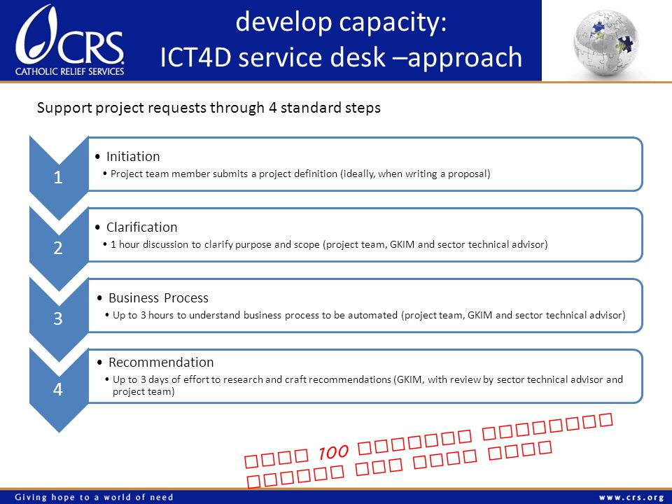 develop capacity: ICT4D service desk –approach Support project requests through 4 standard steps 1 Initiation Project team member submits a project definition (ideally, when writing a proposal) 2 Clarification 1 hour discussion to clarify purpose and scope (project team, GKIM and sector technical advisor) 3 Business Process Up to 3 hours to understand business process to be automated (project team, GKIM and sector technical advisor) 4 Recommendation Up to 3 days of effort to research and craft recommendations (GKIM, with review by sector technical advisor and project team) over 100 project requests during the past year