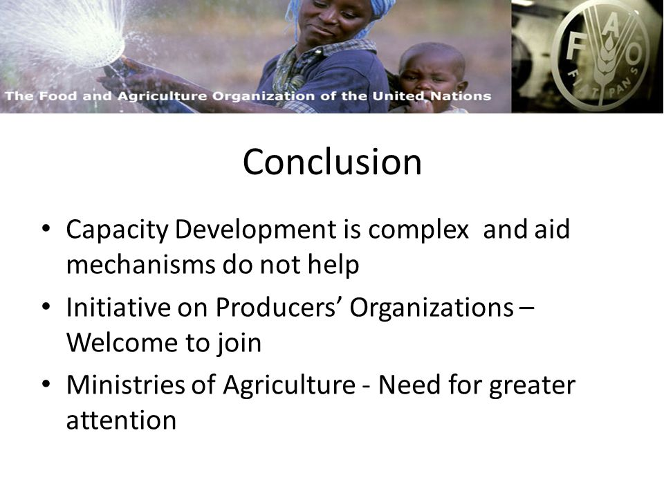 FAO and Capacity Building Capacity Development is complex and aid mechanisms do not help Initiative on Producers Organizations – Welcome to join Ministries of Agriculture - Need for greater attention Conclusion