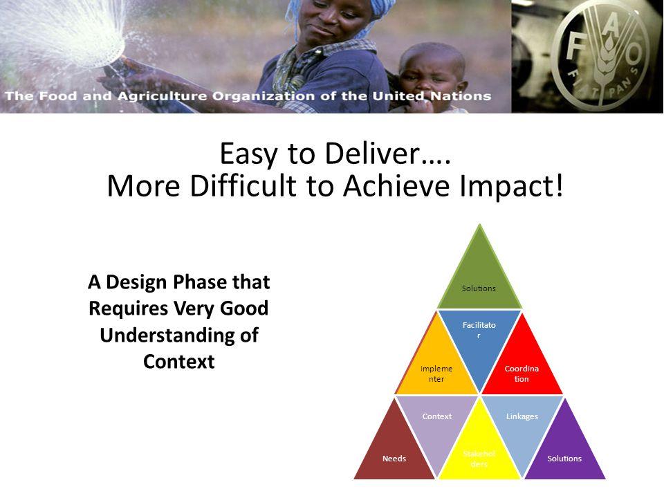 FAO and Capacity Building Process versus outputs Three Dimensions Design Phase Anchorage / Institutionalisation Easy to Deliver….