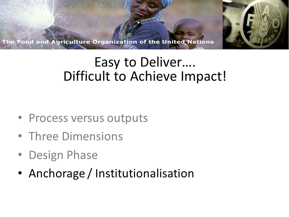 FAO and Capacity Building Easy to Deliver….More Difficult to Achieve Impact.
