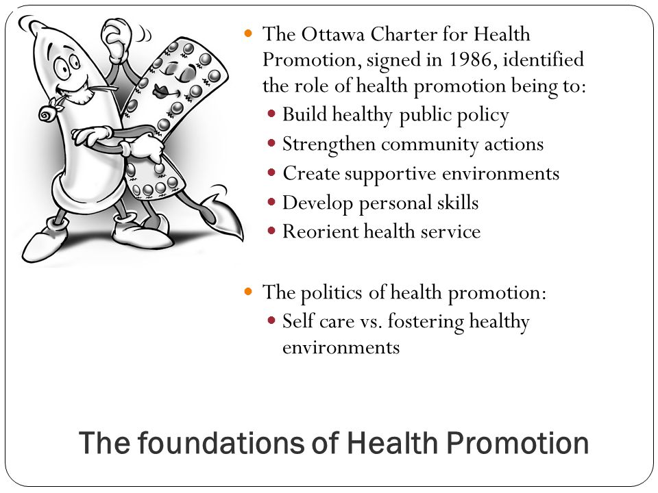 The foundations of Health Promotion The Ottawa Charter for Health Promotion, signed in 1986, identified the role of health promotion being to: Build healthy public policy Strengthen community actions Create supportive environments Develop personal skills Reorient health service The politics of health promotion: Self care vs.