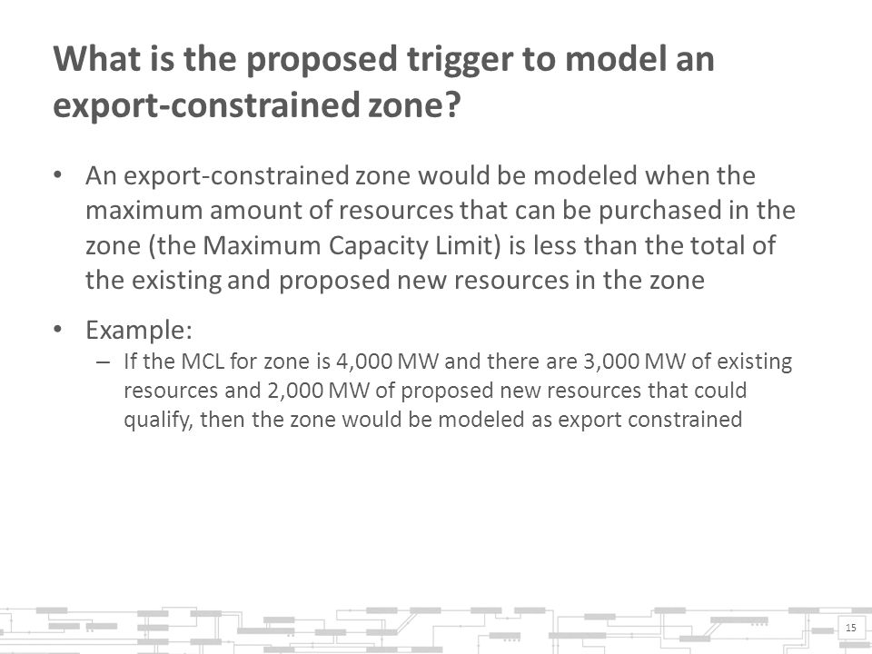 What is the proposed trigger to model an export-constrained zone.