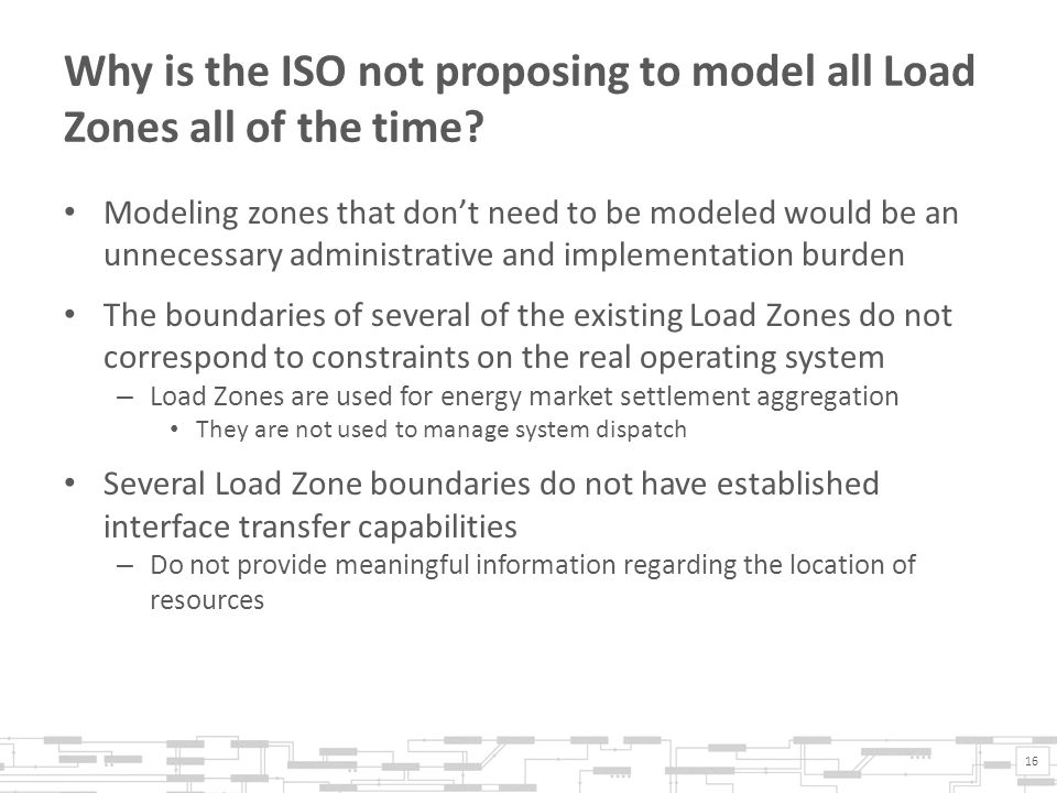 Why is the ISO not proposing to model all Load Zones all of the time.