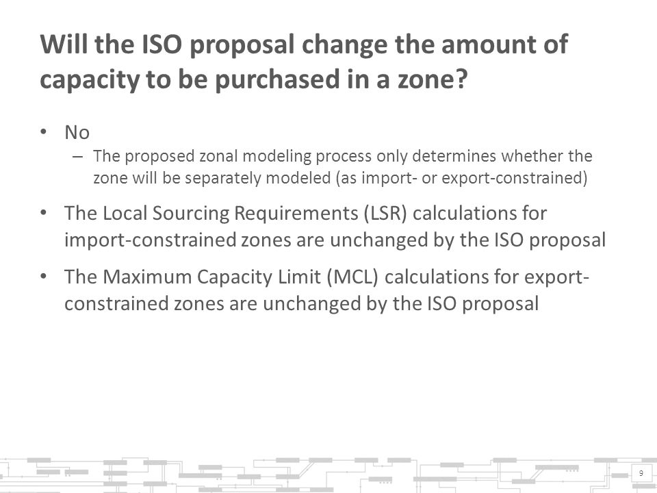 Will the ISO proposal change the amount of capacity to be purchased in a zone.