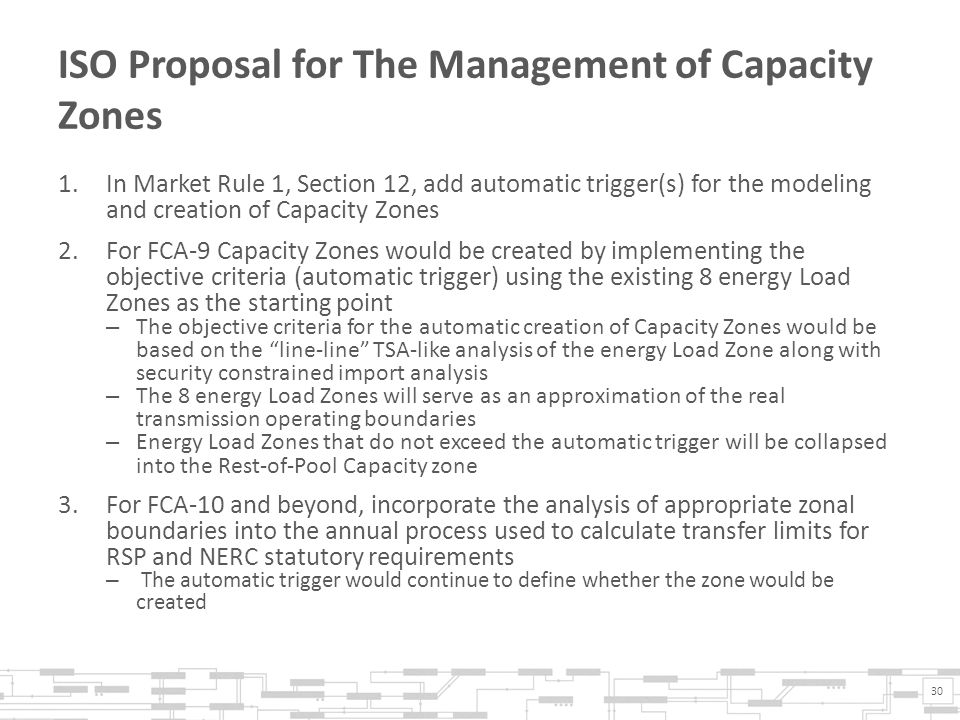 ISO Proposal for The Management of Capacity Zones 1.In Market Rule 1, Section 12, add automatic trigger(s) for the modeling and creation of Capacity Zones 2.For FCA-9 Capacity Zones would be created by implementing the objective criteria (automatic trigger) using the existing 8 energy Load Zones as the starting point – The objective criteria for the automatic creation of Capacity Zones would be based on the line-line TSA-like analysis of the energy Load Zone along with security constrained import analysis – The 8 energy Load Zones will serve as an approximation of the real transmission operating boundaries – Energy Load Zones that do not exceed the automatic trigger will be collapsed into the Rest-of-Pool Capacity zone 3.For FCA-10 and beyond, incorporate the analysis of appropriate zonal boundaries into the annual process used to calculate transfer limits for RSP and NERC statutory requirements – The automatic trigger would continue to define whether the zone would be created 30