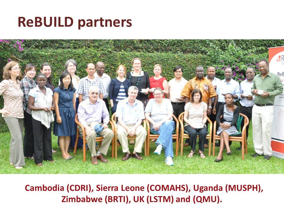 Cambodia (CDRI), Sierra Leone (COMAHS), Uganda (MUSPH), Zimbabwe (BRTI), UK (LSTM) and (QMU).