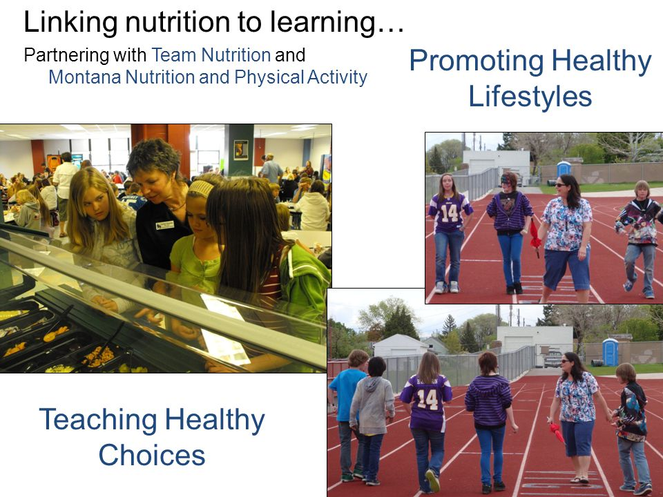 Linking nutrition to learning… Partnering with Team Nutrition and Montana Nutrition and Physical Activity Teaching Healthy Choices Promoting Healthy Lifestyles