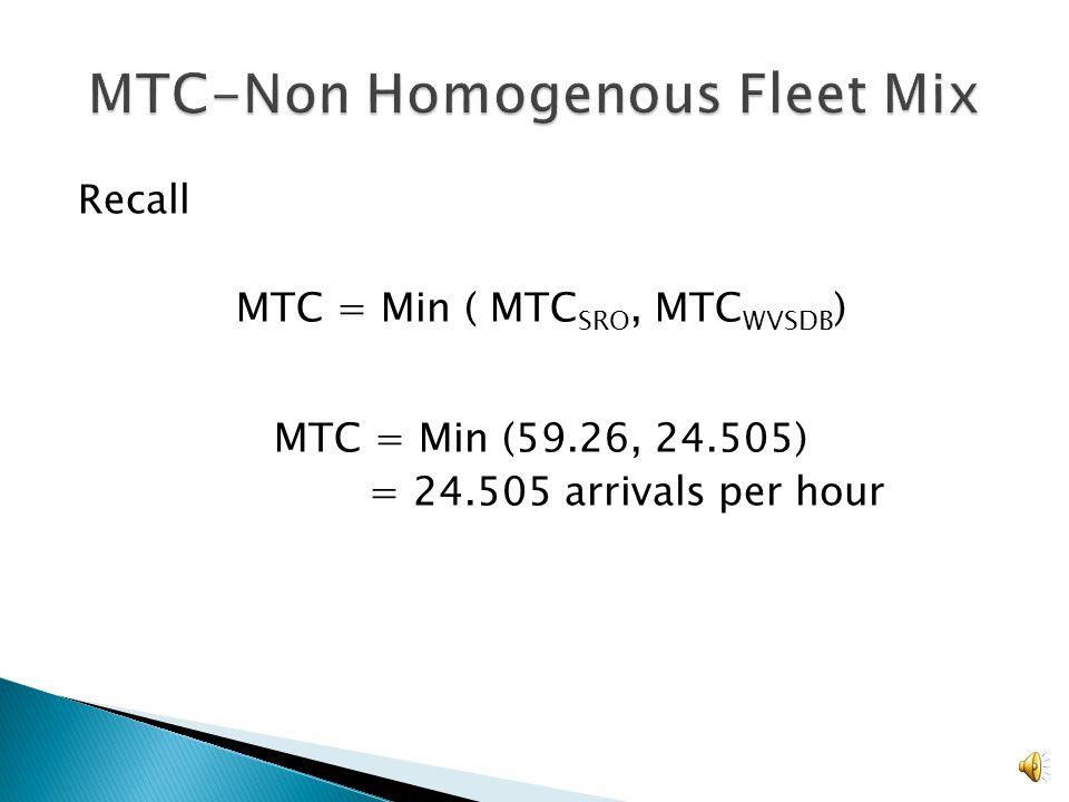 MTC = 3600/E[tij] Where tij = Tij + b E[tij]= 146.9 seconds MTC= 3600/ 146.9 = 24.505 arrivals per hour