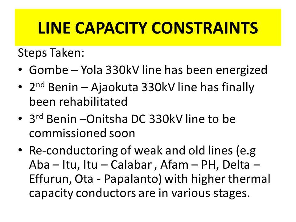 LINE CAPACITY CONSTRAINTS Steps Taken: Gombe – Yola 330kV line has been energized 2 nd Benin – Ajaokuta 330kV line has finally been rehabilitated 3 rd