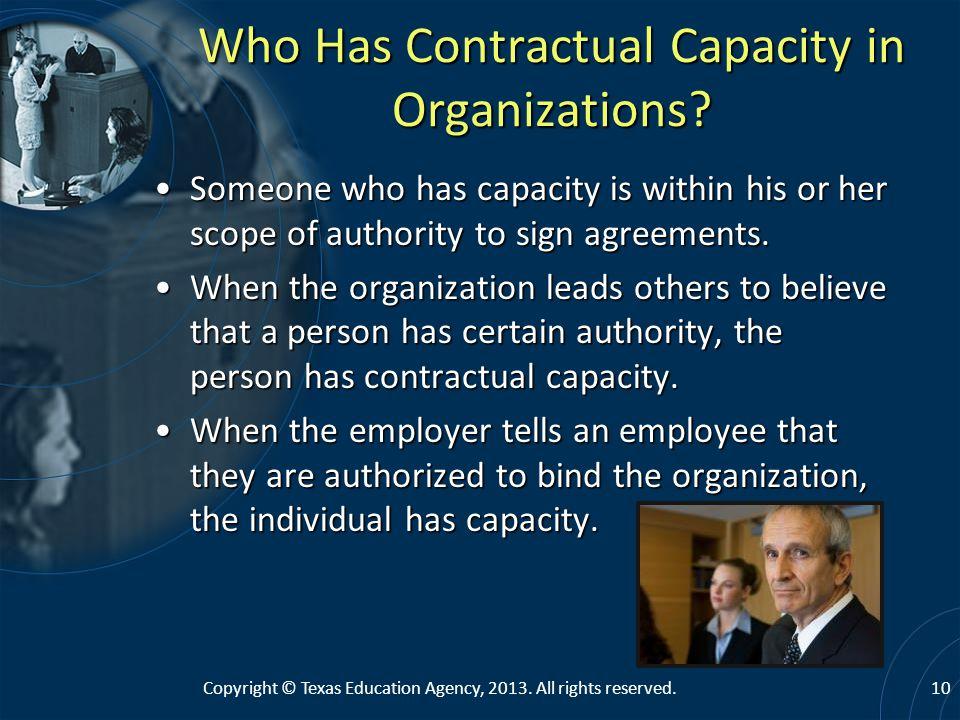 Who Has Contractual Capacity in Organizations.