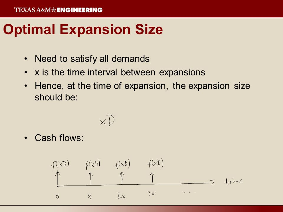 Optimal Expansion Size Need to satisfy all demands x is the time interval between expansions Hence, at the time of expansion, the expansion size should be: Cash flows: