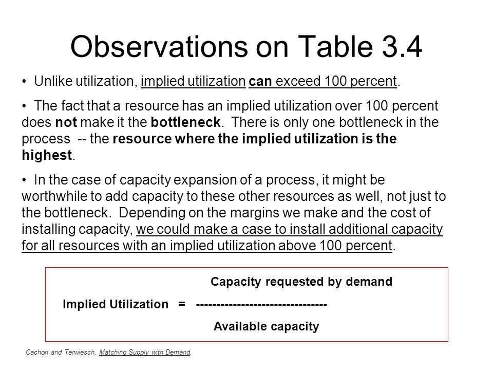 Observations on Table 3.4 Unlike utilization, implied utilization can exceed 100 percent. The fact that a resource has an implied utilization over 100