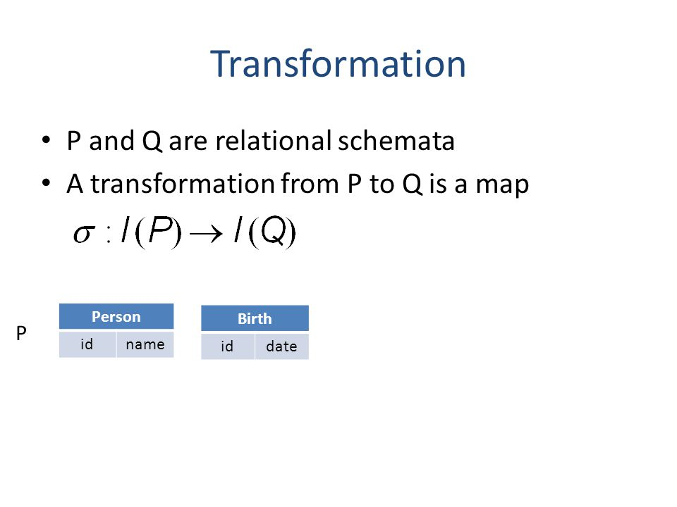 Transformation P and Q are relational schemata A transformation from P to Q is a map P Person idname Birth iddate