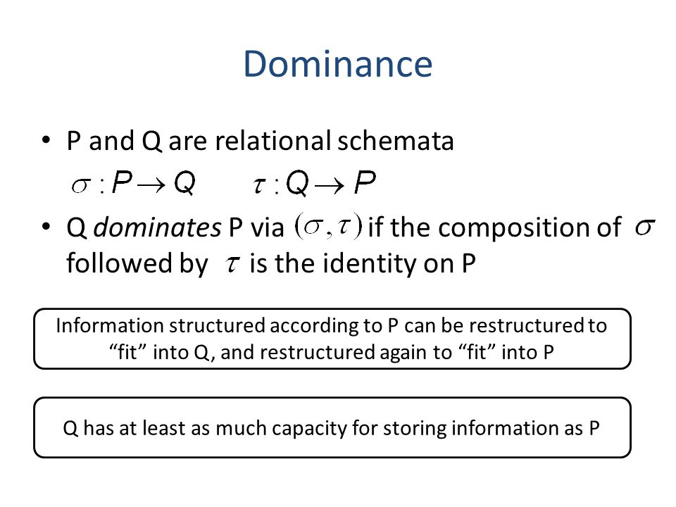 Dominance P and Q are relational schemata Q dominates P via if the composition of followed by is the identity on P Q has at least as much capacity for