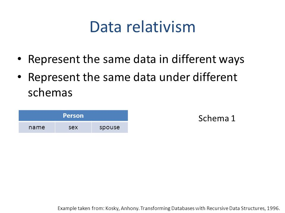 Data relativism Represent the same data in different ways Represent the same data under different schemas Person namesexspouse Schema 1 Example taken from: Kosky, Anhony.