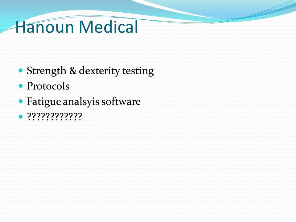 Hanoun Medical Strength & dexterity testing Protocols Fatigue analsyis software ????????????