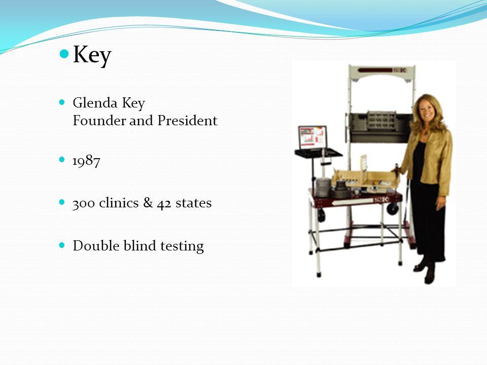 Key Glenda Key Founder and President 1987 300 clinics & 42 states Double blind testing