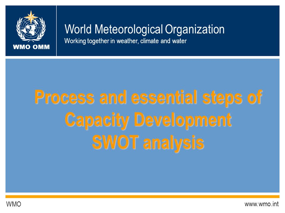 World Meteorological Organization Working together in weather, climate and water WMO OMM WMO www.wmo.int Process and essential steps of Capacity Development SWOT analysis